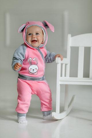 Лапушка. Комплект кофточка и штаны из капитония Зайка, розовый вид 1
