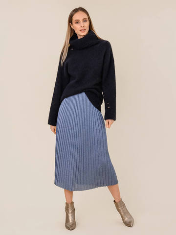 Женский свитер темно-синего цвета из шерсти - фото 5