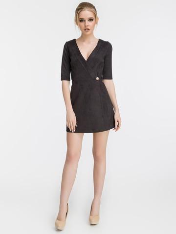 Короткое замшевое платье, черное