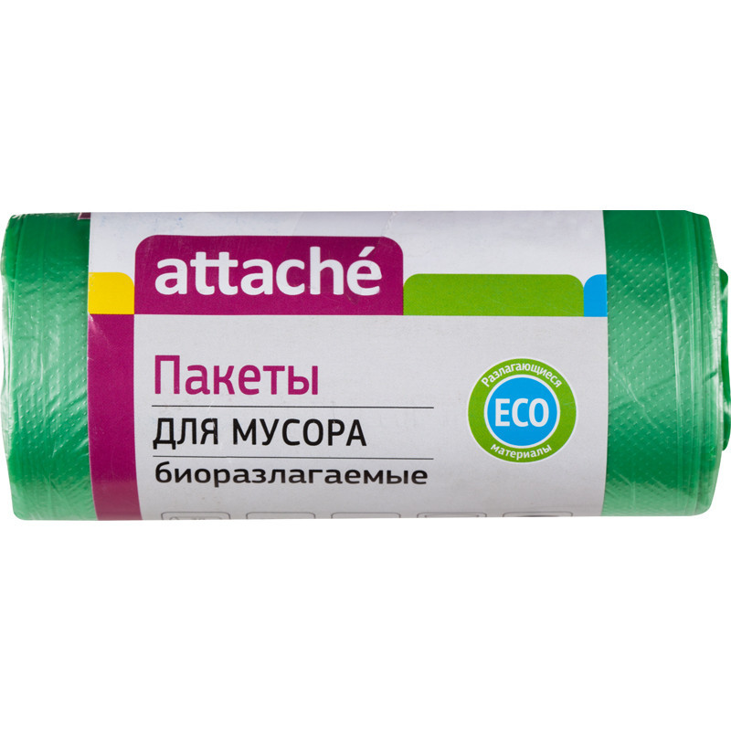 Мешки для мусора на 30 л Attache зеленые (ПНД, 10 мкм, в рулоне 30 шт, 50х60 см, биоразлагаемые)