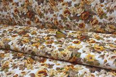 Льняная интерьерная ткань принт ЦВЕТЫ