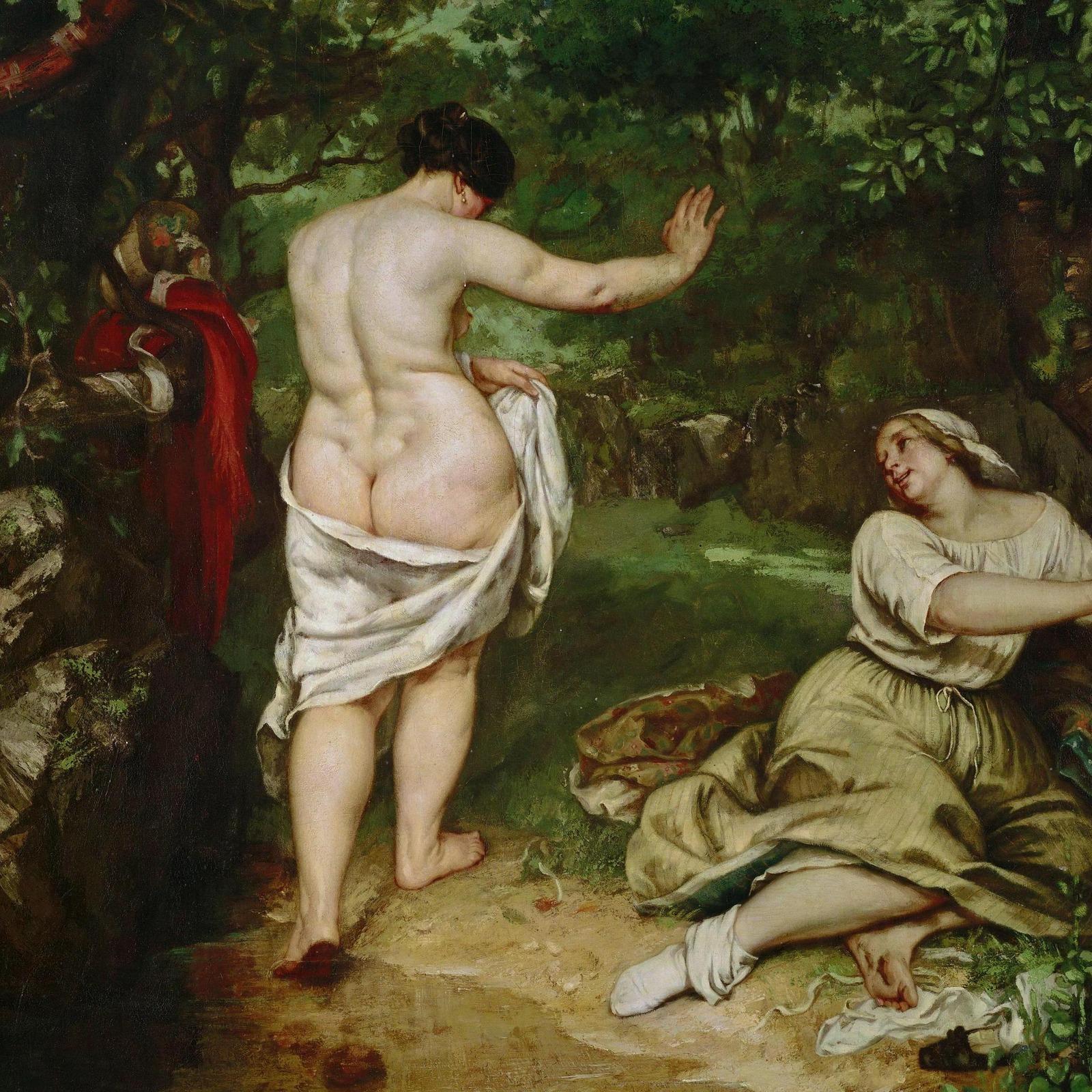 Гюстав Курбе. 1853. Купальщица (The Bathers). 227 х 193. Холст, масло. Монпелье, музей Фабра. Деталь.