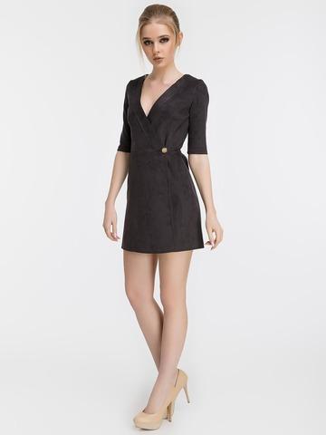 Короткое замшевое платье, черное 2
