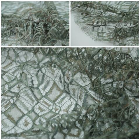 Кружевное полотно SH сетка ромбы Хаки