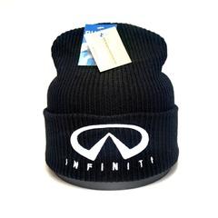 Вязаная шапка с вышитым логотипом Инфинити (Infiniti) черная