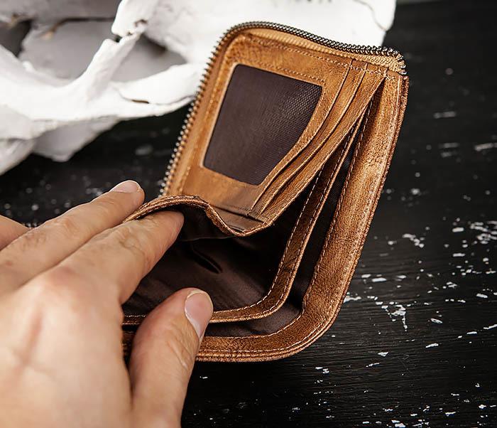 WL331-2 Мужское портмоне из натуральной коричневой кожи фото 09