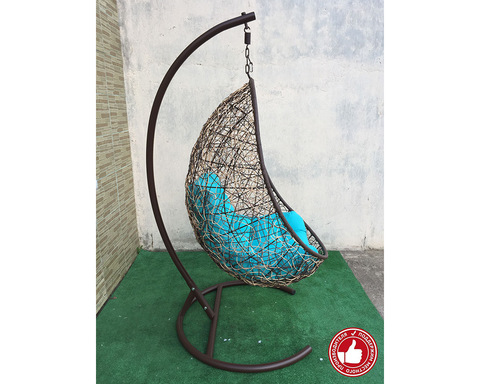 Подвесное кресло Изи бежево-коричневое
