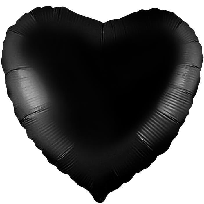 Фольгированный воздушный шар сердце, черный, 46 см