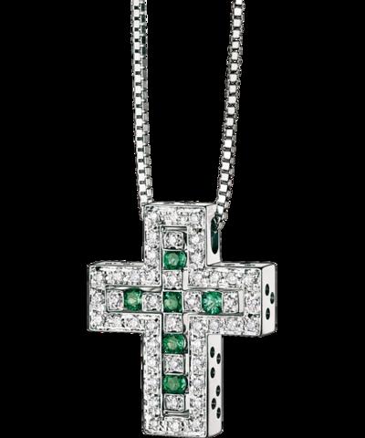 Двойной крест из серебра с изумрудными  цирконами  DOMIANI