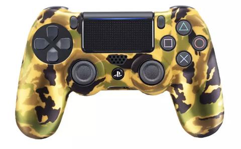 PS4 Чехол для геймпада DualShock 4 (камуфляж зелёно-черный-золотой перламутровый, накладки + наклейка)