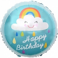 Шар (18''/46 см) Круг, С Днем Рождения! (облако и радуга), Бирюзовый, 1 шт.