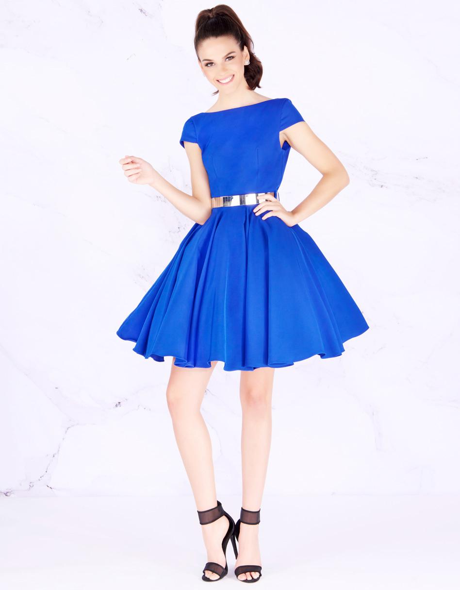 Пышное платье средней длины в синем цвете Mac Duggal 58500