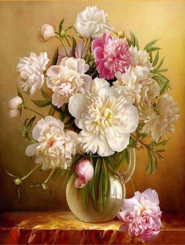 Картина раскраска по номерам 50x65 Белые и розовые пионы в вазе
