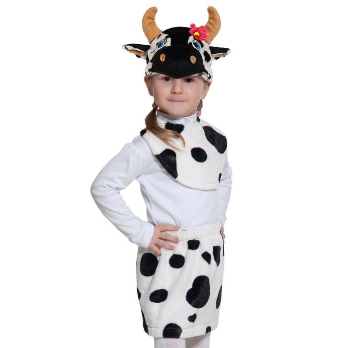 Карнавальный костюм «Коровка», плюш-лайт, манишка, юбка, маска, рост 92-116 см фото