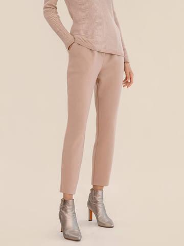 Женские брюки бежевого цвета из 100% шерсти - фото 4