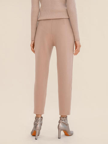 Женские брюки бежевого цвета из 100% шерсти - фото 5