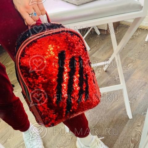 Рюкзак с пайетками меняющий цвет Красный-Чёрный модель Мila