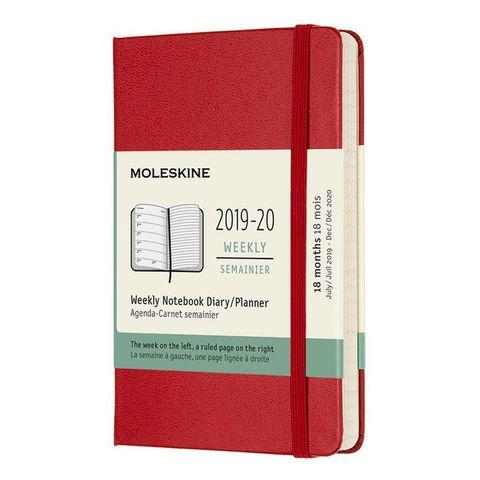 Еженедельник Moleskine ACADEMIC WKLY Pocket 90x140мм датир.18мес 208стр. красный
