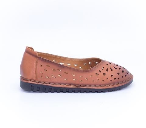 Коричневые кожаные туфли на платформе