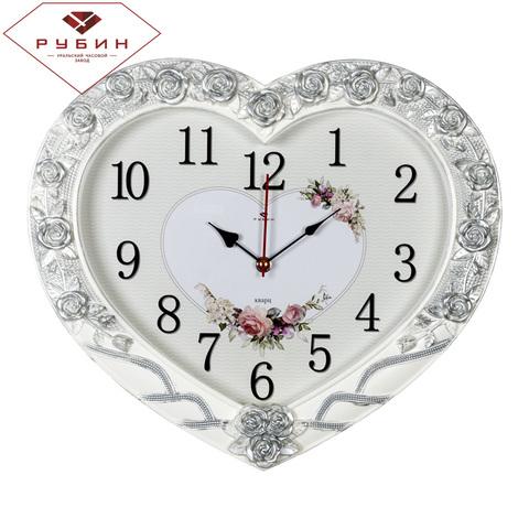4134-003 (5) Часы настенные в форме сердца 41х35см, корпус белый с серебром