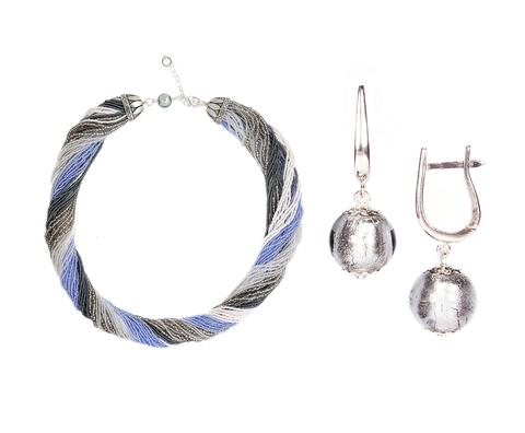 Комплект украшений серо-синий (серьги-бусины, ожерелье из бисера 48 нитей)