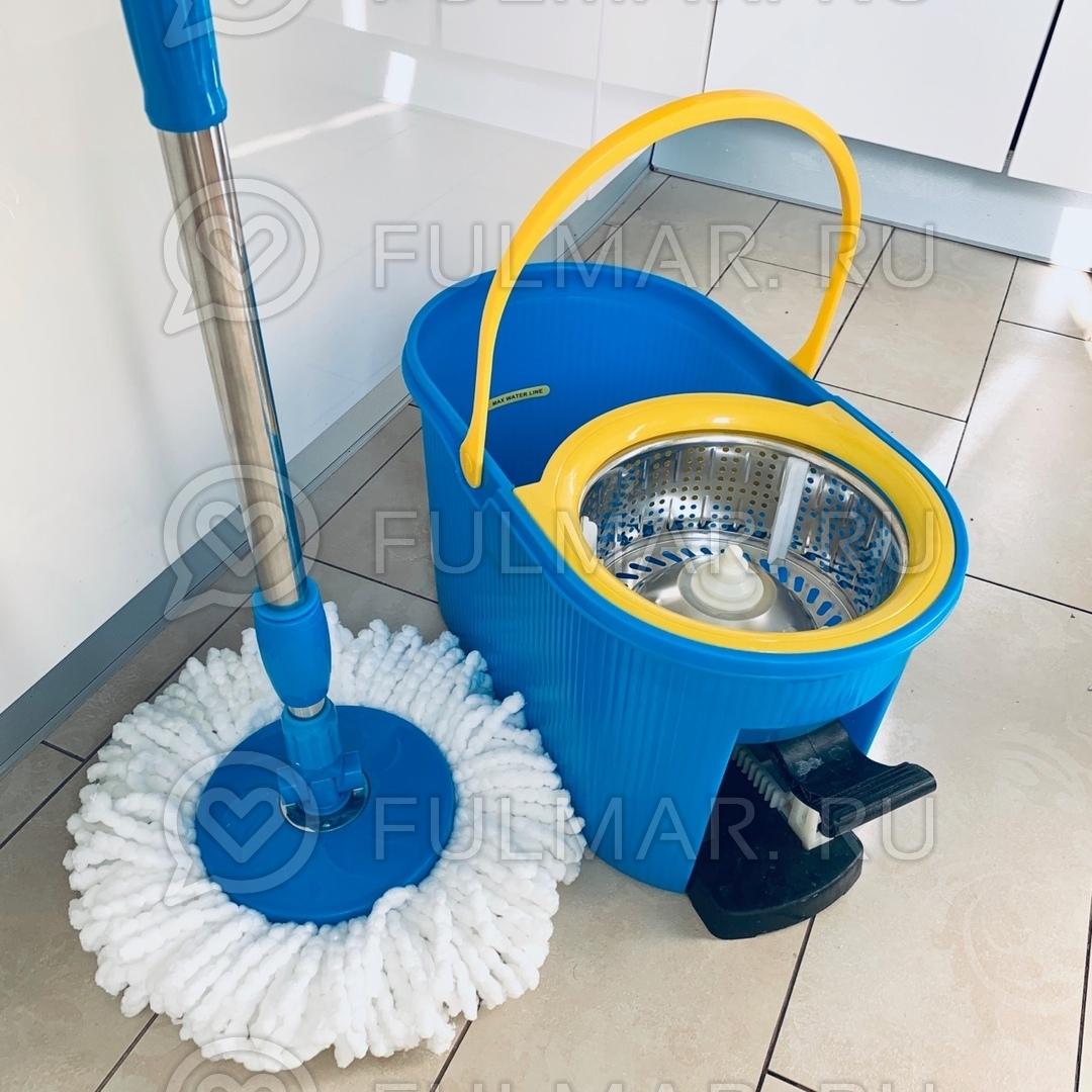 Швабра с отжимом и ведро с педалью и стальной центрифугой для мытья полов Спин Моп фото