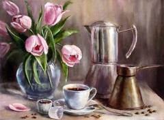 Картина раскраска по номерам 40x50 Букет и кофе