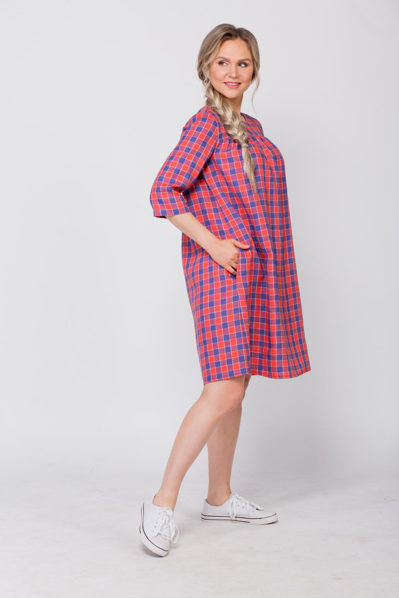Платье льняное Хобби вид сбоку с карманом