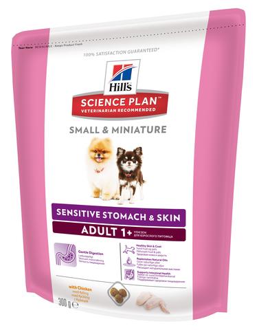 Hill's сухой корм для собак миниатюрных пород с чувствительным пищеварением (курица) 300г