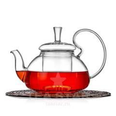 """Чайник заварочный """"Орхидея"""" 600 мл, стеклянный с колбой фильтром"""
