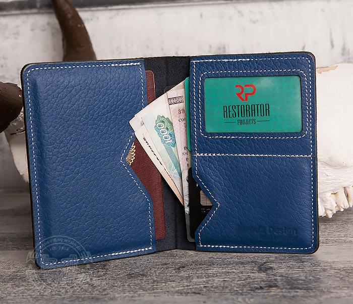 WB110-3 Кошелек синего цвета для купюр, карт, паспорта, окошко. «Boroda Design» фото 06