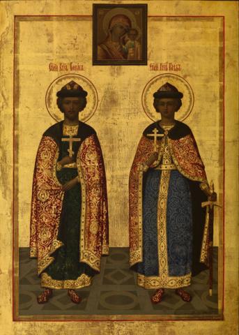 Икона святые Борис и Глеб на дереве на левкасе мастерская Иконный Дом