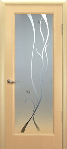 Дверь Новая волна Р стекло белое (беленый дуб, остекленная шпонированная), фабрика Океан