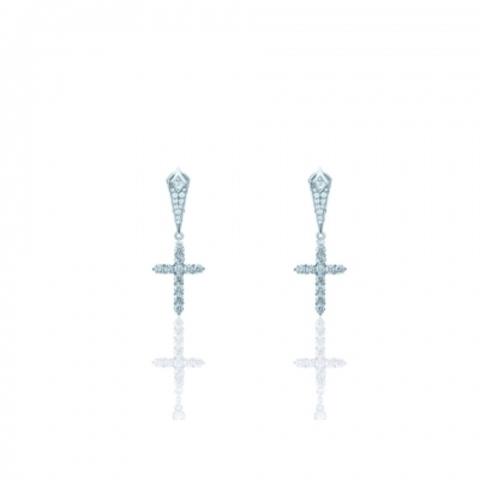 Серьги CROSS из серебра с цирконами бриллиантовой огранки