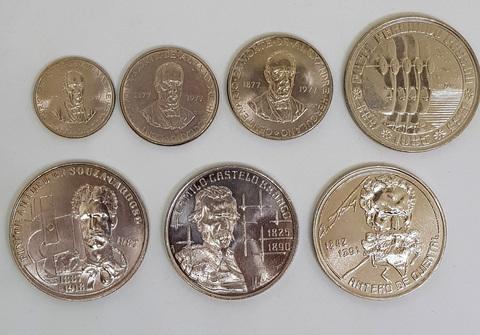 """Набор эскудо """"Люди искусства"""". Португалии на монетах. ( 7 монет )UNC"""