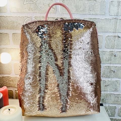 Рюкзак большой школьный прямоугольный с пайетками меняющий цвет Пудровый матовый-Зеркальный