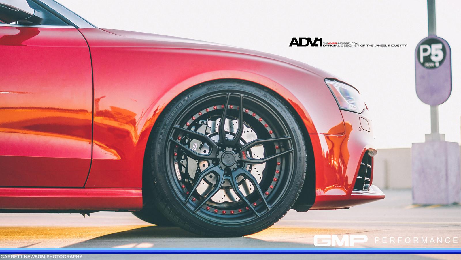 RED AUDI RS5 – ADV005 M.V2 SL MATTE BLACK WHEELS
