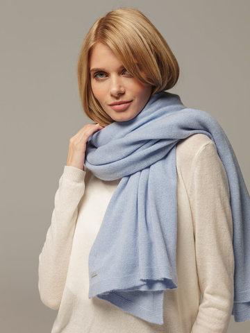 Женский шарф голубого цвета из 100% кашемира - фото 4