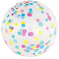 Шар (18''/46 см) Сфера 3D, Deco Bubble, Разноцветное конфетти, Прозрачный, 50 шт.