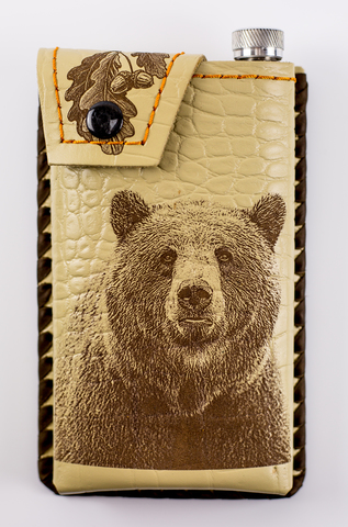 Фляга в кожаном чехле Медведь, 350 мл