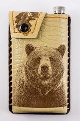 Фляга в кожаном чехле Медведь, 450 мл