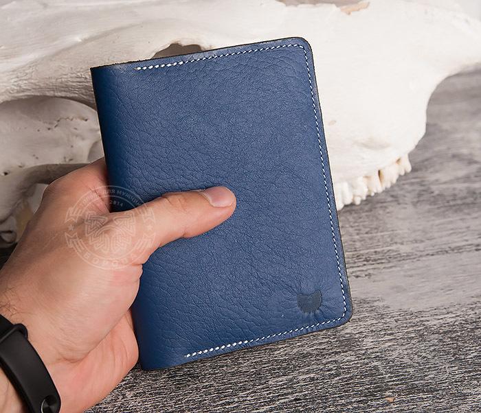 WB110-3 Кошелек синего цвета для купюр, карт, паспорта, окошко. «Boroda Design» фото 07