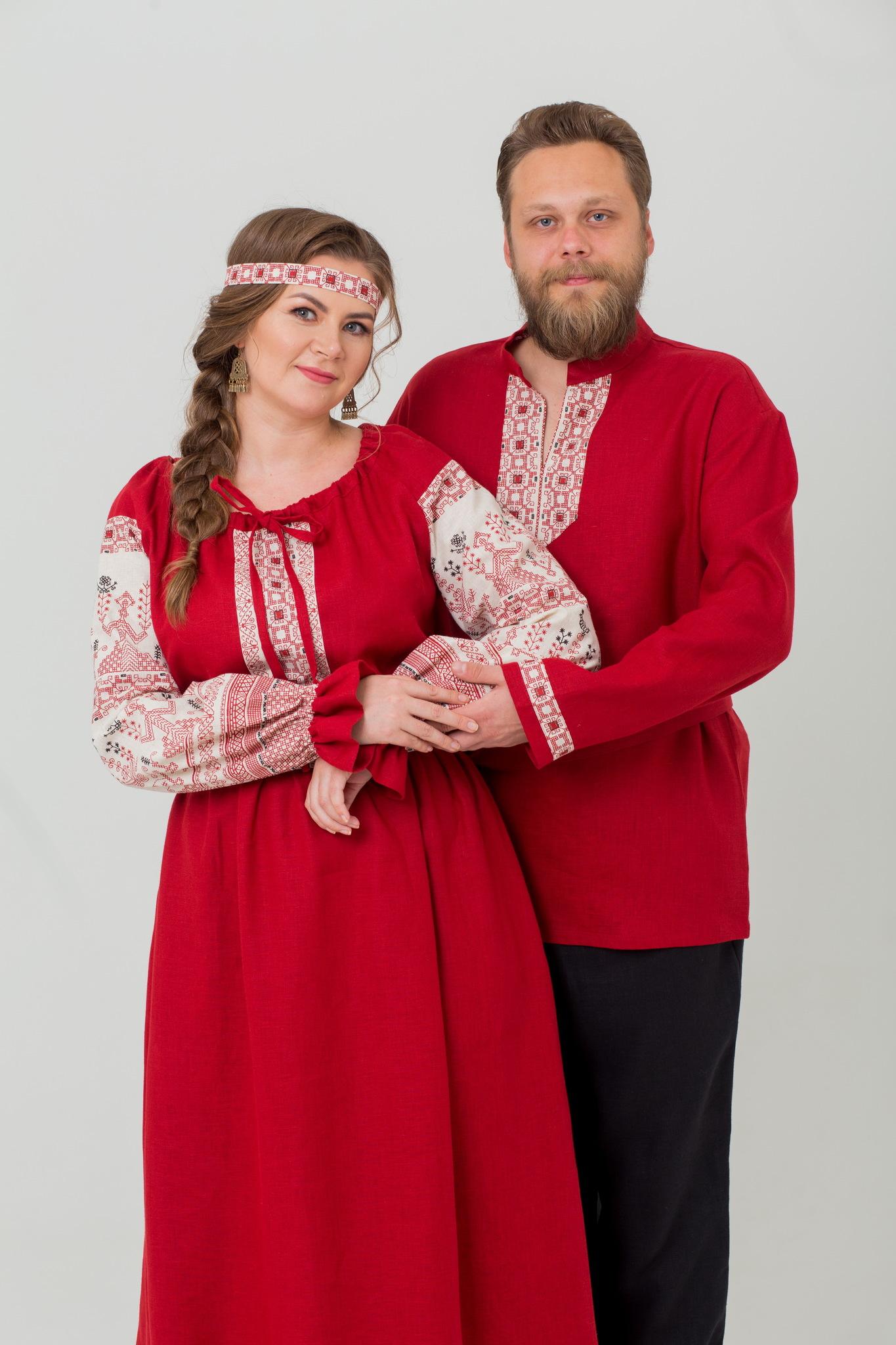 Комплект рубаха и платье Брусничный цвет