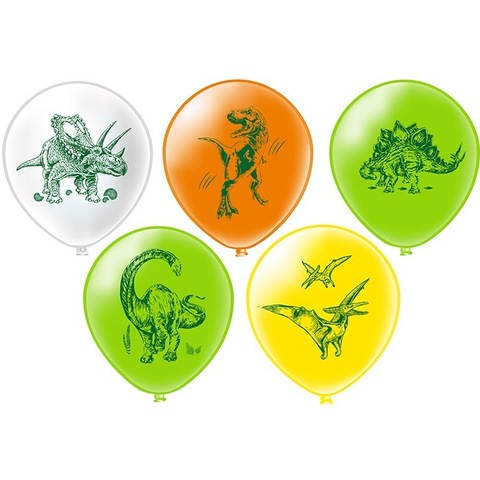 Воздушные шары с изображением динозавров - птеродактиль, тираннозавр, стегозавр, трицератопс, брахеозавр.