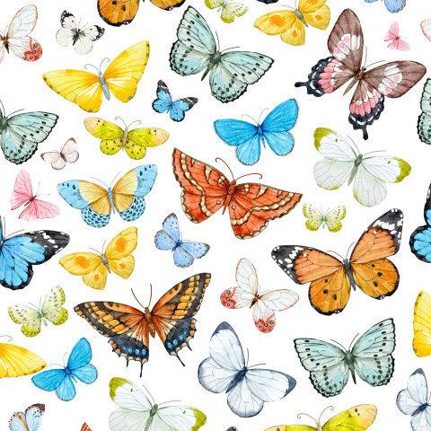 Акварельный паттен с бабочками