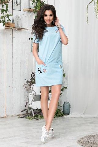 Короткое летнее платье с апликацией, в голубую полоску
