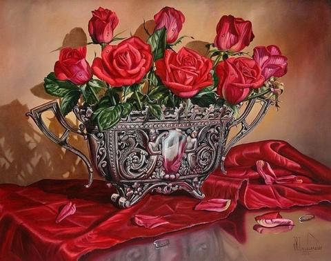 Картина раскраска по номерам 50x65 Красные розы в железной вазе