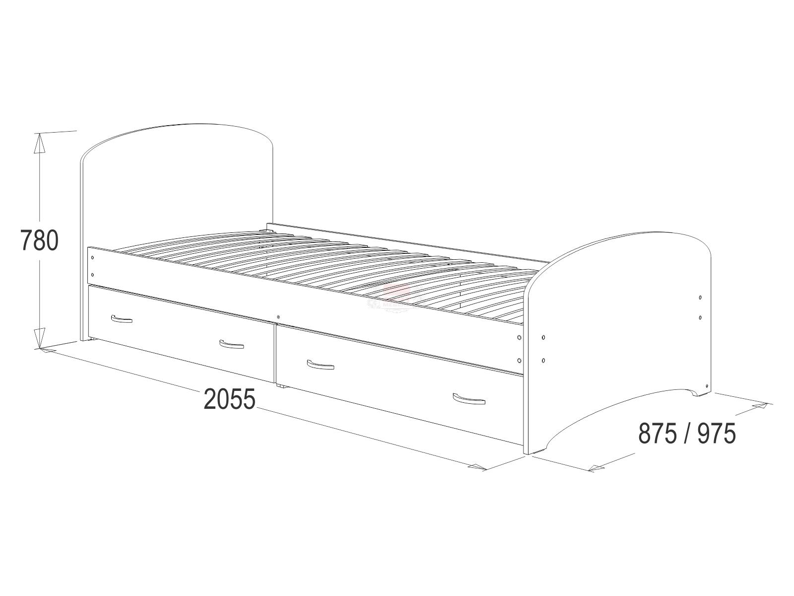 Кровать №6 одинарная с ящиками