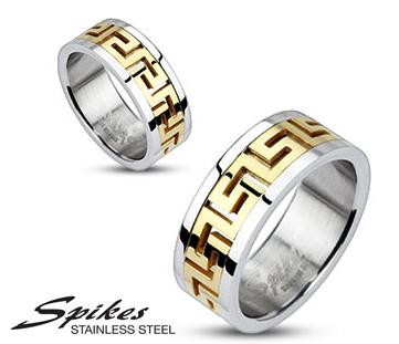 R-M0010 Кольцо «Spikes» из стали с золотистой вставкой