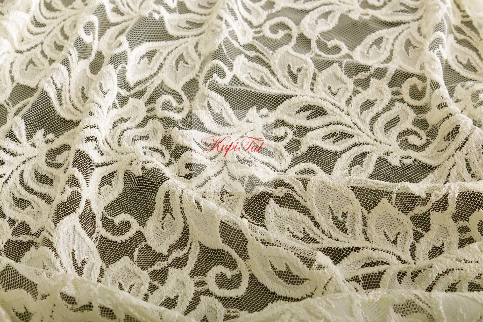 Комплект гипюр+вуаль Мелани-T (кремовый)